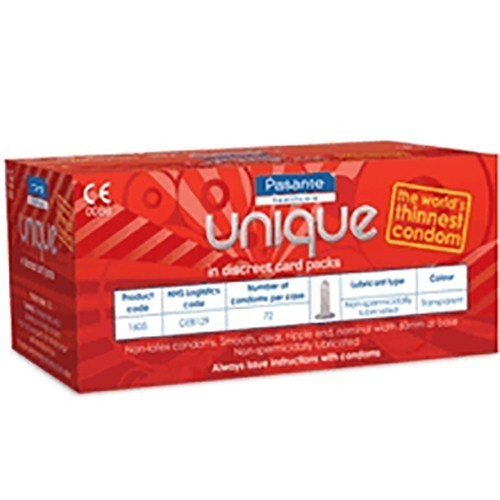 Pasante Unique Bulk Condoms (72 Pack)